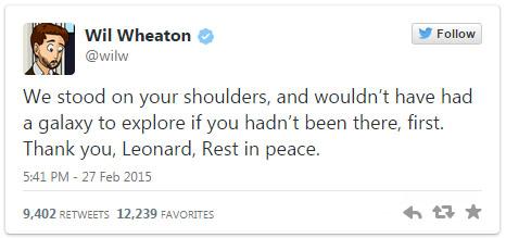 Wil Wheaton tweet