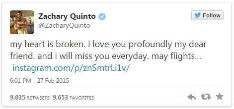 Zachary Quinto's tweet