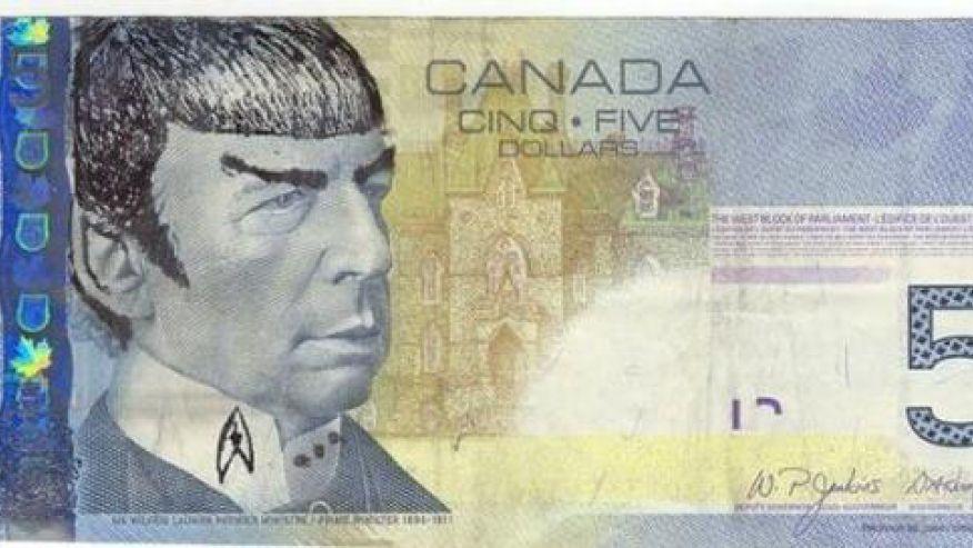 A Spockified Canadian 5 Dollar Bill