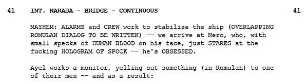 Star Trek 2009 Script Snippet