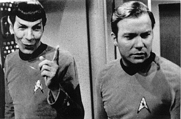Leonard Nimoy and William Shatner on set in Star Trek